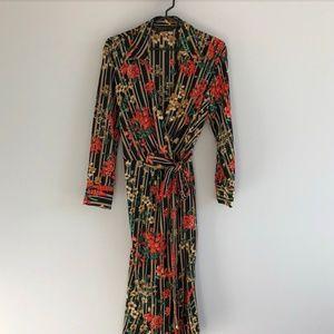Zara Floral Print Wrap Dress XS